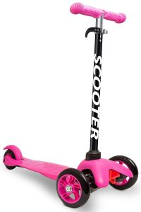 A pink kick scooter