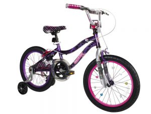 A bike with training wheels on
